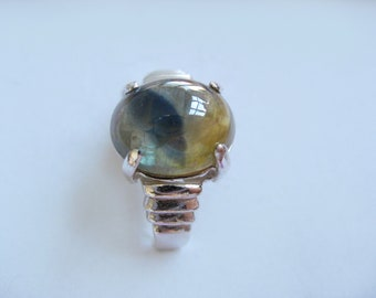 Rare Natural Tricolor Sapphire In Sterling Silver Ring 6.35ct. Size 7
