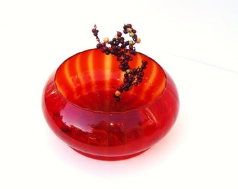 Vintage Amberina, Art Glass Compote, Red Glass Bowl, Table Centerpiece, Hand Blown Vase