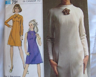 1960s SEWING PATTERN - Simplicity Dresses, Dress, Tunic, Tank, Long, Short Sleeve, Panel Detailing No. 7239 from 1967