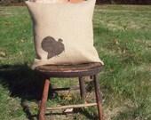 Turkey Pillow Cover - Burlap Pillow - Rustic Turkey Pillow - Thanksgiving Decor - Cabin Decor - Fall Decor - Wildlife Pillow - Bird Pillow