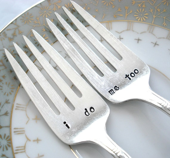 Vintage Silver Plated Hand Stamped i do & me too Wedding Cake Forks for your Wedding Celebration - Set of 2 - Maytime 1944