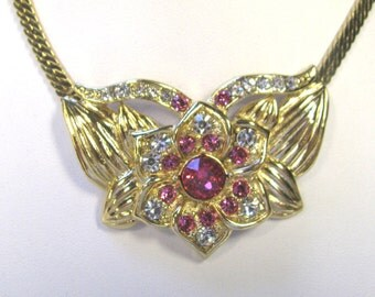 Pink & Crystal Rhinestone Choker Necklace In gold tone metal, Rhinestone Flower Choker Necklace