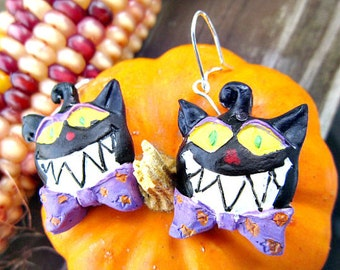 Halloween Jewelry, Halloween Cat Earrings Scary Cat  H 05