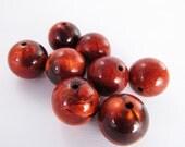 16 Vintage 14mm Italian Copper Swirl Lucite Beads Bd272