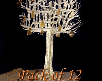 "Pack of 12 twelve days of Christmas book sculpture cards 5""x7"""