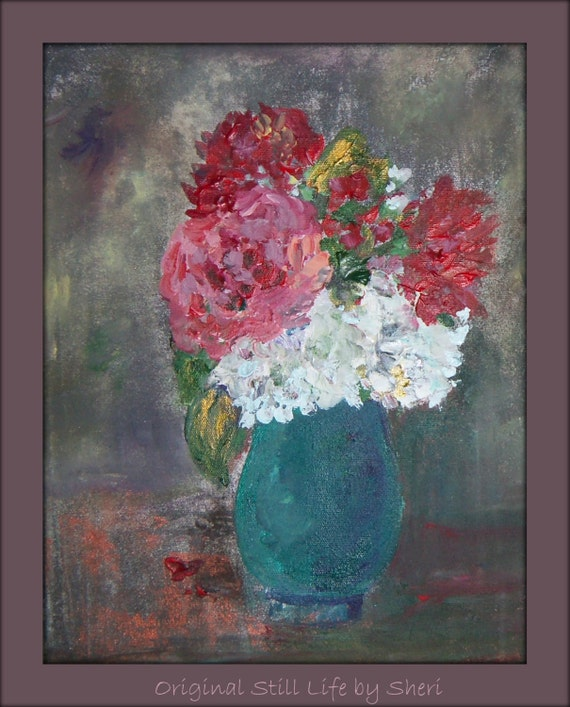 Original Red and Pink Floral Textured Grey Turquoise Vase Acrylic Canvas Still Life Painting 9x12x1/22.9cmx30.5cm