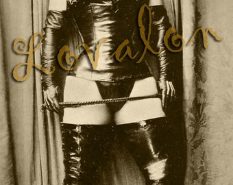 MATURE... Black Leather Fetish...  Instant Digital Download... Vintage Nude Photo... Erotic Photography Image by Lovalon