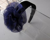 Royal Purple Tulle Flower Black Satin Headband, for weddings, parties, special occasions