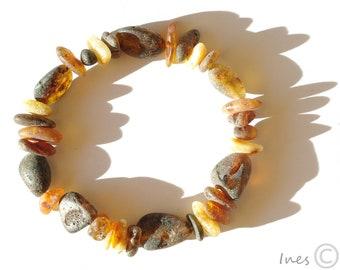 Raw Unpolished Baltic Amber Bracelet. Unisex