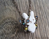Summer Sky C. Monocle Bunnyfly Ivory & Copper Necklace (n012)