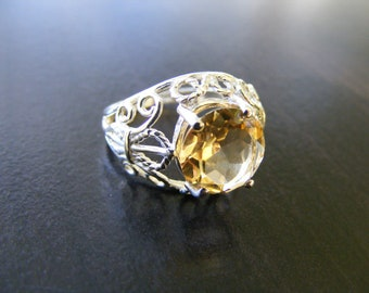 15% Off Sale.S39 Made to Order...New Sterling Silver Fleur De Lis Filigree Ring With 4 Carat Round Cut Natural Citrine Gemstone