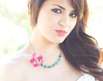 flower necklace, Asymmetrical Necklace