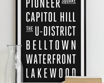 Seattle Subway Sign - Typography Print - Modern Home Decor - City Art Poster