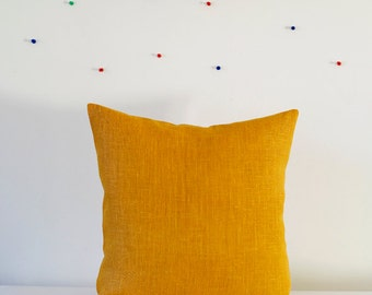 Yellow pillow cover - throw pillows - mustard linen cushion case - throws - sham - 14x14    0047