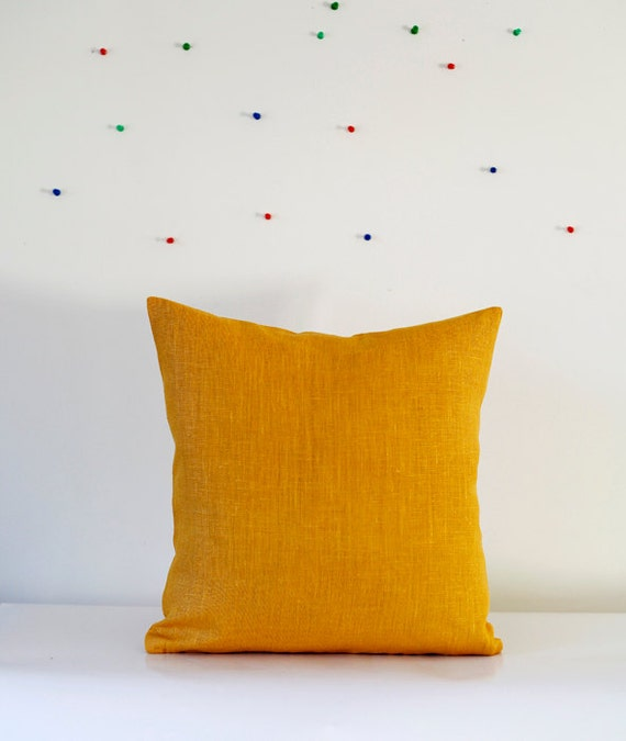 Mustard Throw Pillow Covers : Yellow pillow cover throw pillows mustard linen by pillowlink