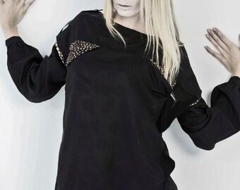 SALE - Two Way Wear Black Blouse