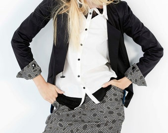 SALE 30%  OFF- Black Blazer Jacket with V-neckline