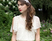 Beaded Silver Metallic Bridal lace headband with Freshwater Pearls, Crystals and Silk ribbon.