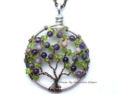 The Lilac- Wire Tree of Life in Amethyst and Peridot, Purple and Green, August and February