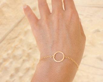 Best friend gift - Gold Circle bracelet - karma bracelet - Bracelet gold - freindship bracelet -  Dainty gold bracele - Bridesmaid gift