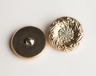 """9 Vintage 9/16"""" Metal Shank Buttons. Gold Tone with a Matte Finish. Depressed Center. Dish Shaped, Floral Style Design. Item 0331M"""