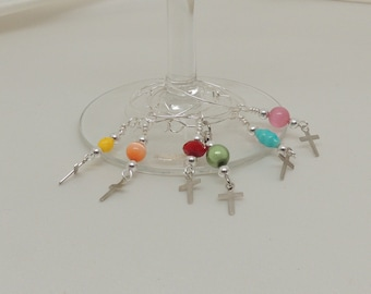 Silver-Plated Multi-Color Wine Charms with Silver Crosses