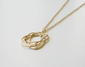 """Gold Necklace - Long Necklace - Gold Swirl Necklace -  24"""" - Gold Swirl Pendant with CZ Accents on Matte Gold Chain Necklace"""