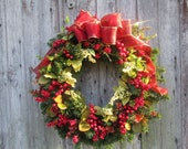 Christmas Red Berry Wreath, Outdoor Wreath, Christmas Door Decoration, Red Berry Pine Wreath
