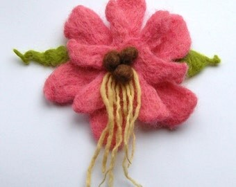 Wet felted flower brooch, wet felted wool flower, pink, brown and green, felt flower hairclip