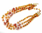 Japan Glass Necklace Beaded Vintage Jewelry Collectible Iridescent Amber Brown Green Rose 1950's Vintage Jewelry For Women