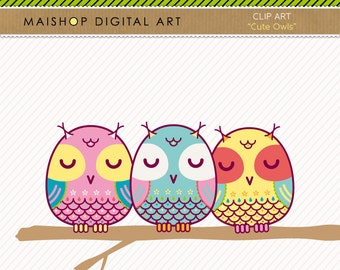Clip Art Owls + Digital Collage Sheet Printable Instant Download for Crafts, Invitations, Prints...