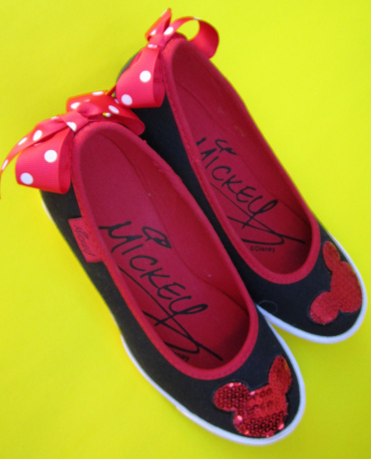 Mickey Mouse Shoes Disney Wedges High Heels Sequined Sporty