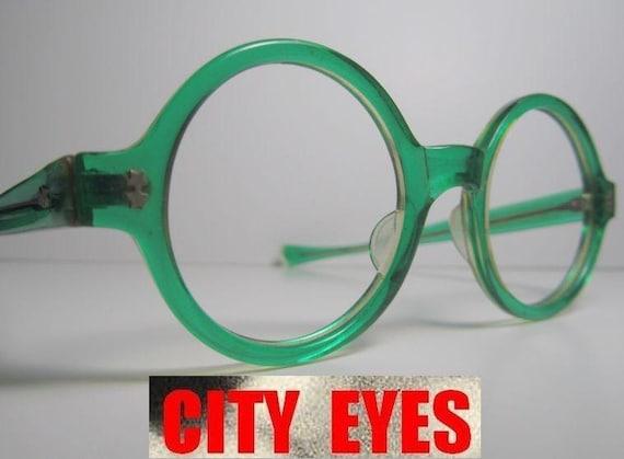 1960s Round Green Clear eyeglasses eye glasses eyeglass frames