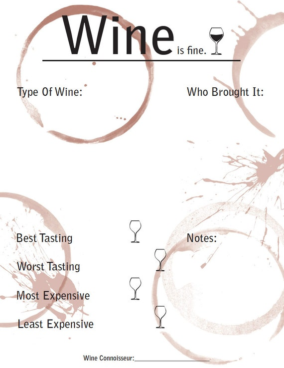 Items similar to wine tasting rating sheet printable for Wine tasting sheet template