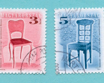 17 Chair Postage Stamps from Hungary - Collage, Mixed Media, ATC
