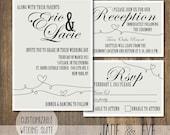 Classic and Fun Printable DIY Customizable Wedding Invitation Suite