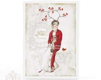 Jane Austen, Christmas card, woodland, dreaming, white Christmas, robin, red berries, antlers, lady in red, snow, noel, holiday card