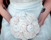 RESERVED Fabric Flower Bouquet, Rustic Wedding Bouquet, Alternative Bouquet, Unique Bouquet