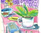 Tabletop kitchen -Home Decor - Print 5x7 of original drawing, for her, teacup,  ceramic bowl, journal book, retro pattern