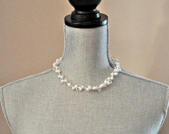 Freshwater Pearl Necklace, Bridal Necklace Wedding Jewelry, Crystal and Pearl Wedding Necklace
