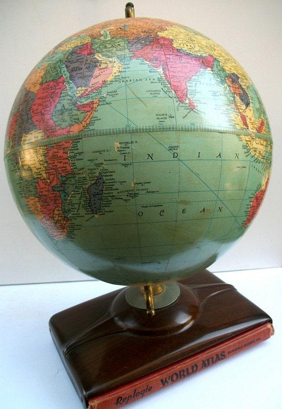 Fabulous Antique 1955 Replogle 10 Inch Precision Globe With