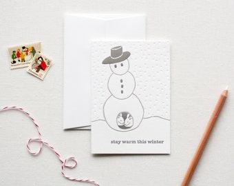 Snowman Letterpress Holiday Card