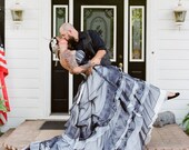 Black and White Gothic Wedding Dress Custom Made to your Measurements