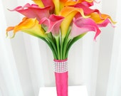 Tropical Wedding bouquet Bridal bouquet Real touch calla lily hot pink orange