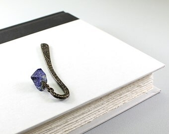 Blue gemstone bookmark: natural rough lapis lazuli stone bookmark, accessories for book lover, for grandmother, grandfather, teacher