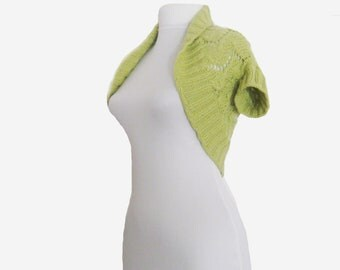 Hand knitted shrug. Lime Green shrug knitted by hand. Bright summer shrug. Shrug knitted. Boho stile.