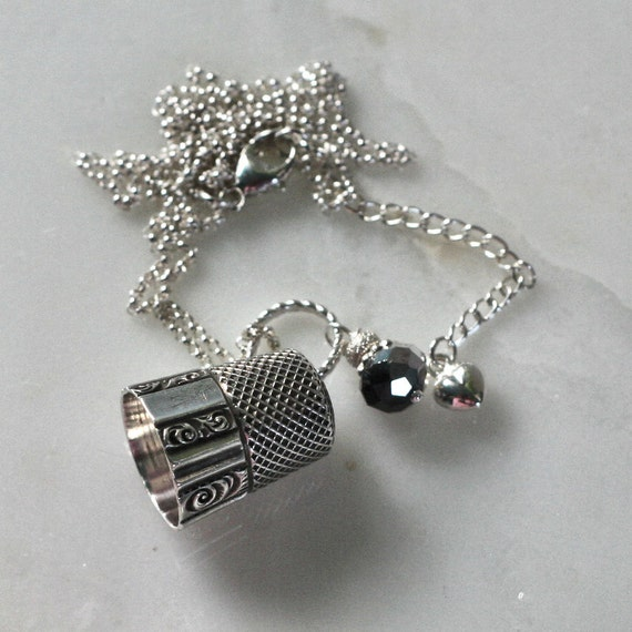 Thimble and Acorn Kisses Necklace Peter Pan and Wendy In Sterling Silver