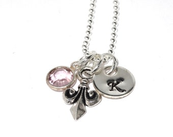 Fleur de Lis Necklace in Sterling Silver and Personalized