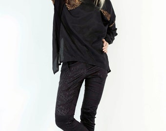 SALE 53% OFF- Black Skinny Trouser With Contrast Diagonal Paneling Detail
