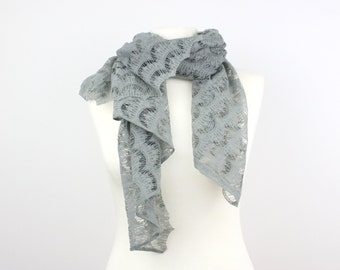 Light Grey Cotton Lace Scarf, Handmade Scarf, Spring Summer Scarf